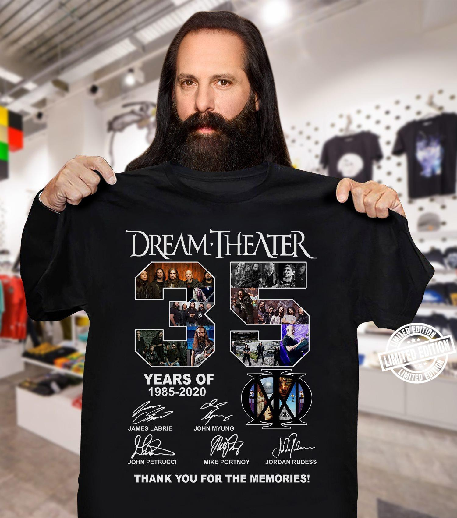 Dream Theater 35 years of 1985-2020 thank you for the memories shirt