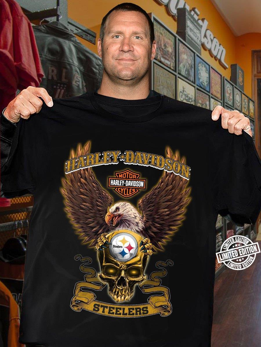Harley Davidson motor cycle steelers skull shirt